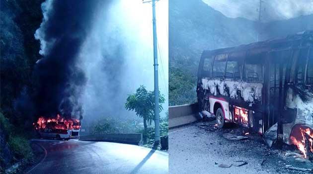Foto: Archivo. Ataque de las Farc a un bus en Ituango.