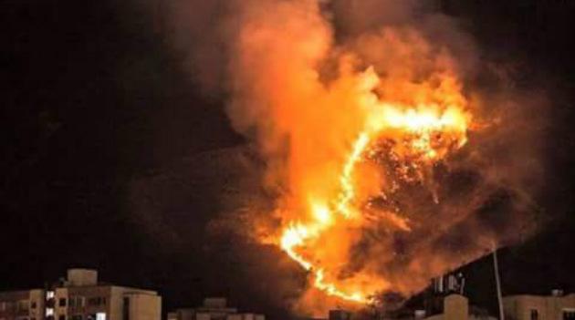 Foto: Cortesía. Incendio en el Cerro de las Tres Cruces, presentado este jueves 2 de julio.