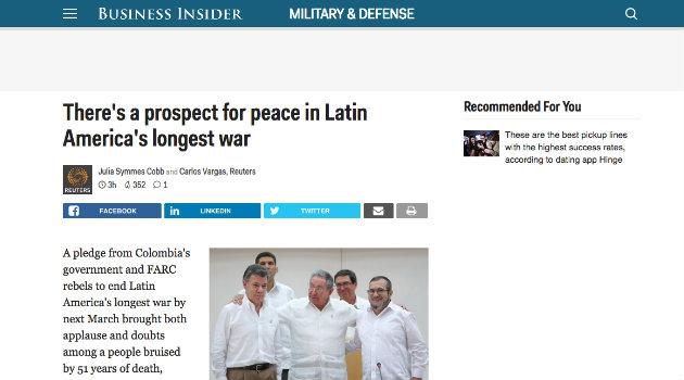 """""""Hay una perspectiva de paz en la guerra más larga de América Latina"""": Businnes Insider"""