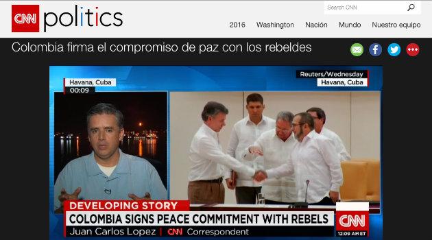 """""""Colombia firma el compromiso de paz con los rebeldes"""": CNN"""