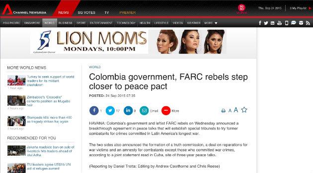 """""""Gobierno de Colombia y FARC, un paso más cerca del acuerdo de paz"""": Channel NewAsia"""
