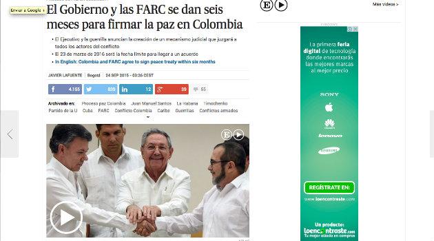 """""""El Gobierno y las FARC se dan seis meses para firmar la paz en Colombia"""": El País, España"""