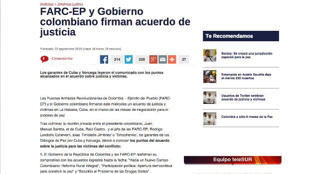 """""""FARC-EP y Gobierno colombiano firman acuerdo de justicia"""": TeleSur"""