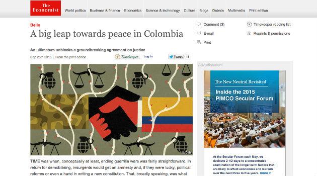 """""""Un gran salto hacia la paz en Colombia"""", resalta el diario The Economist"""