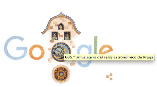Google le dedicó el Doodle de hoy al Reloj Astronómico de Praga. Cortesía