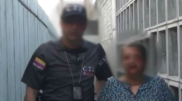 La mujer fue capturada por efectivos del CTI en La Ceja, Antioquia. Foto: CORTESÍA