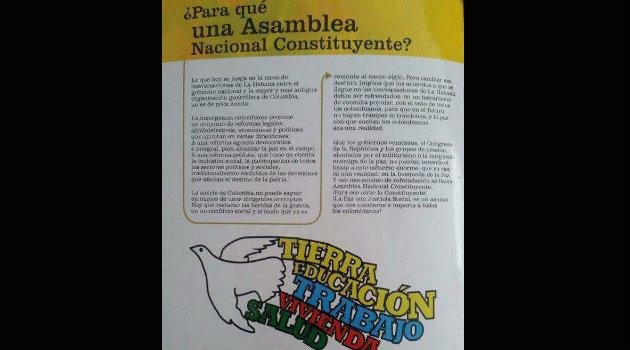 Con este panfleto entregado en Conejo, las Farc comenzaron su campaña buscar apoyo para una Asamble Nacional Constituyente. Foto: CORTESÍA