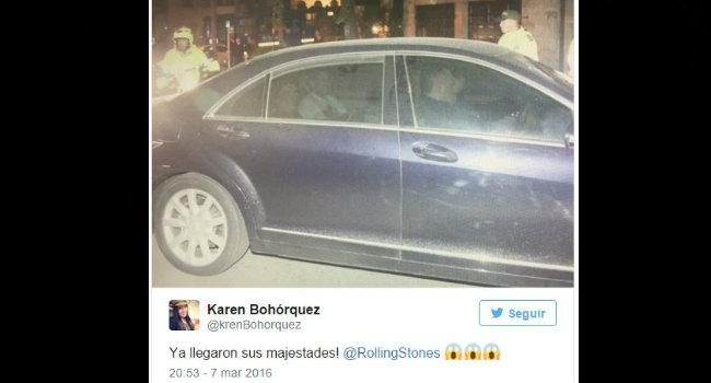 Los pocos fanáticos que lograron ver la llegada de los Rolling Stones a Colombia, se manifestaron en Twitter.