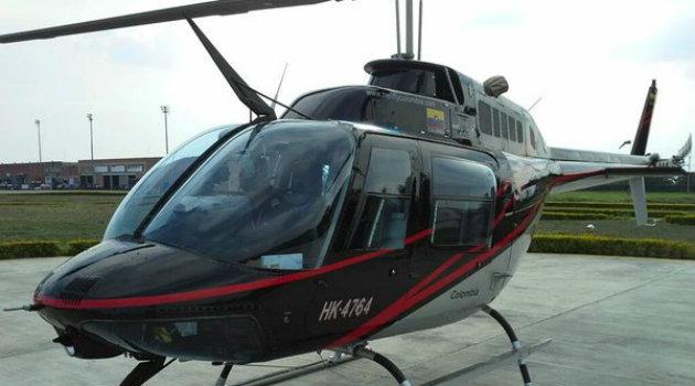 Helicóptero accidentado esta mañana en Santa Rosa de Osos. Foto: CORTESÍA