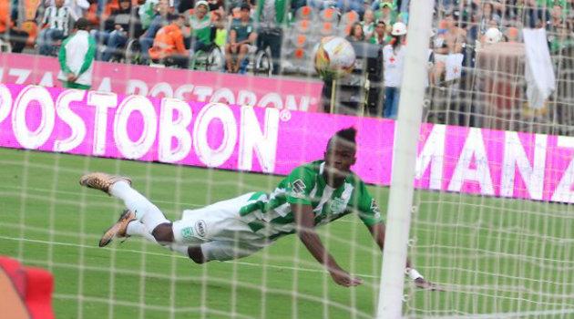 Rodin Quiñonez marcó el séptimo gol de Atlético Nacional ante Bucaramanga. Foto: CORTESÍA