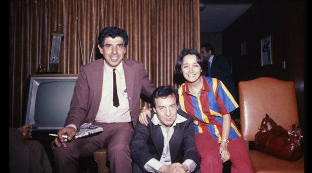 Rubén Aguirre, Roberto Gómez Bolaños y María Antonieta de lass Nieves durante una visita a Uruguay en 1981. Foto: Cortesía.