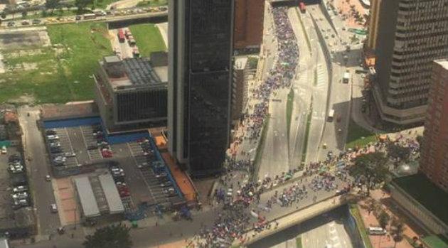 Así se evidenció la multitudinaria protesta en Bogotá. Foto: CORTESÍA.