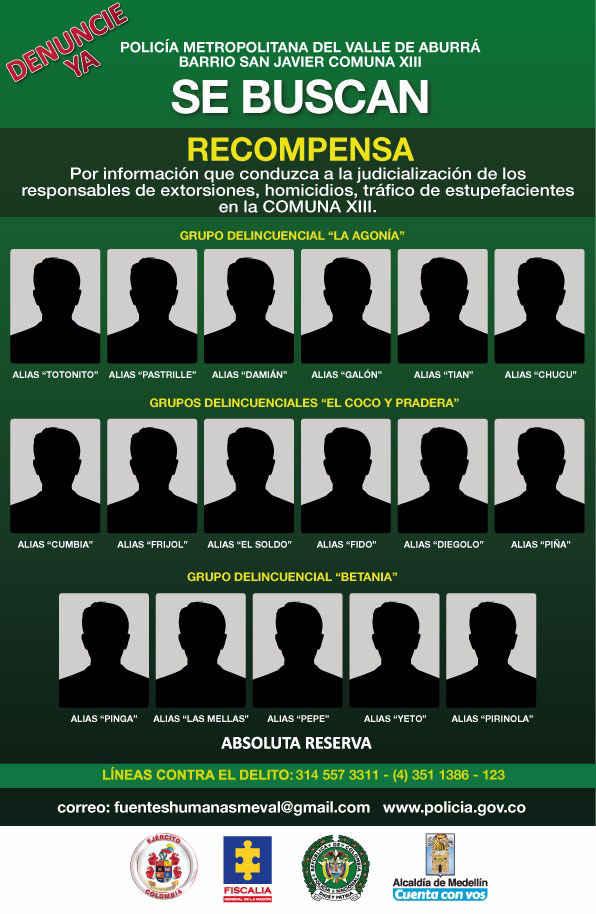 Los más buscados en la Comuna 13